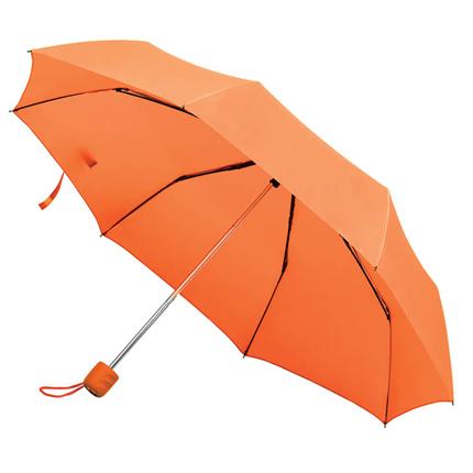 """Зонт складной """"Foldi"""", механический, цвет пластиковой ручки и купола оранжевый"""