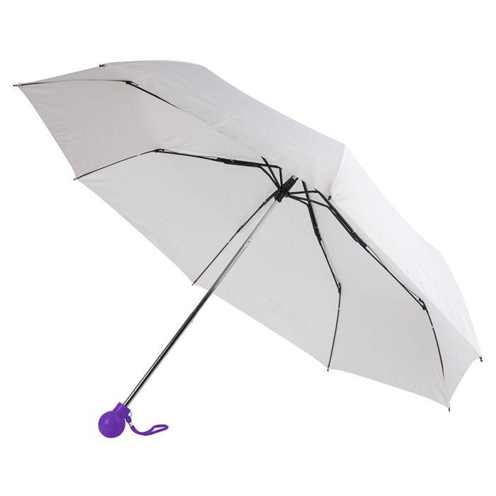 Зонт складной FANTASIA, механический, цвет белый/фиолетовый