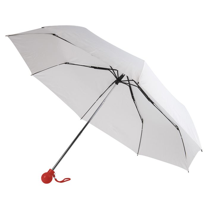 Зонт складной FANTASIA, механический, цвет белый/красный