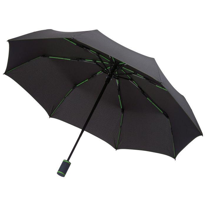 Зонт складной AOC Mini, чёрный/зелёное яблоко