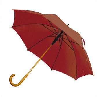 """Зонт-трость с деревянной изогнутой ручкой """"Хит"""", полуавтомат, цвет купола бордовый"""