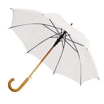 """Зонт-трость с деревянной изогнутой ручкой """"Хит"""", полуавтомат, цвет купола белый"""