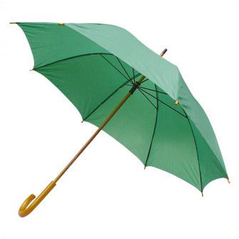 Зонт-трость с деревянной изогнутой ручкой, полуавтомат, цвет купола зелёный 349 C