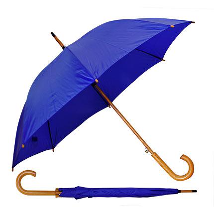 """Зонт-трость с деревянной изогнутой ручкой """"Хит"""", полуавтомат, цвет купола синий"""