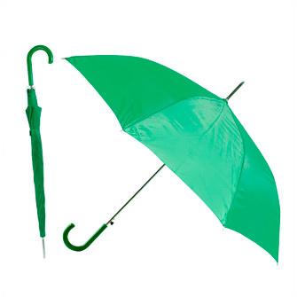Зонт-трость с пластиковой изогнутой ручкой, полуавтомат, цвет ручки и купола зелёный 349 С
