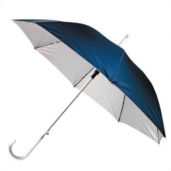 """Зонт-трость полуавтоматический """"Майорка"""" с алюминиевой ручкой, сине-серебристый"""