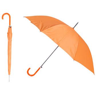 """Зонт-трость """"Эконом"""" с пластиковой изогнутой ручкой, полуавтомат, цвет ручки и купола оранжевый"""