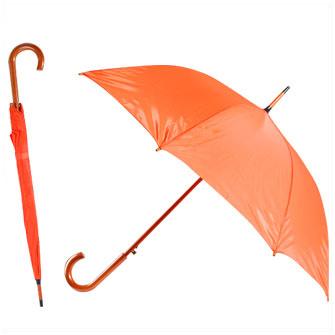 """Зонт-трость с деревянной изогнутой ручкой """"Хит"""", полуавтомат, цвет купола оранжевый 021C"""