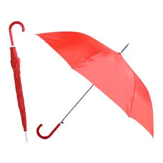 """Зонт-трость """"Эконом"""" с пластиковой изогнутой ручкой, полуавтомат, цвет ручки и купола бордовый"""