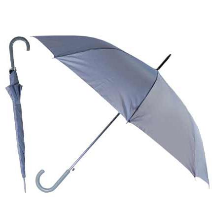 """Зонт-трость """"Эконом"""" с пластиковой изогнутой ручкой, полуавтомат, цвет ручки и купола серый"""