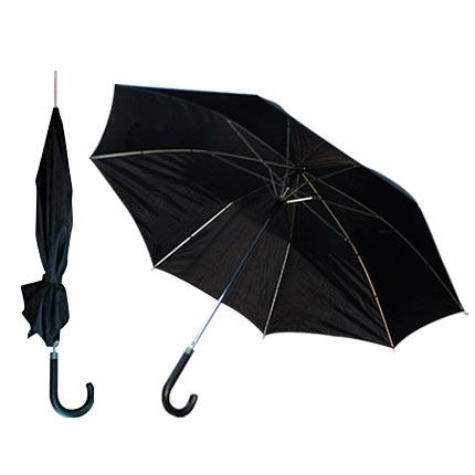 """Зонт-трость полуавтоматический """"Портье"""" с чёрной изогнутой ручкой, цвет купола чёрный"""