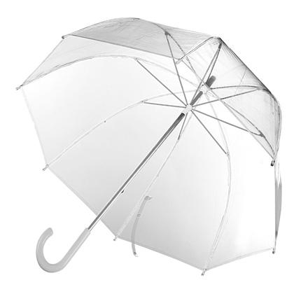 Зонт-трость Clear, механический с пластиковой ручкой, купол прозрачный