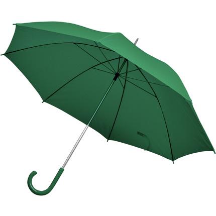 Зонт-трость с пластиковой ручкой, механический, купол из нейлона, цвет зелёный