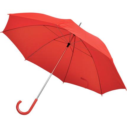 Зонт-трость с пластиковой ручкой, механический, купол из нейлона, цвет красный
