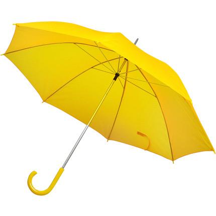 Зонт-трость с пластиковой ручкой, механический, купол из нейлона, цвет жёлтый