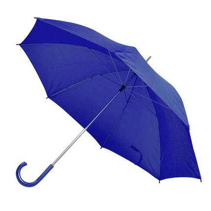 Зонт-трость с пластиковой ручкой, механический, купол из нейлона, цвет синий