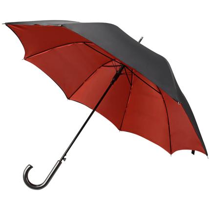"""Зонт-трость """"Гламур"""", полуавтомат, купол снаружи чёрный, внутри красный"""