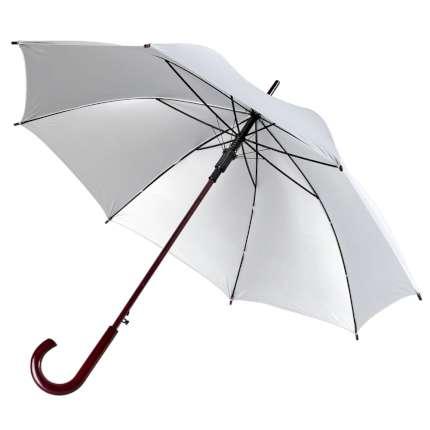 Зонт-трость Unit Standard, полуавтомат с деревянной ручкой, цвет купола серебристый