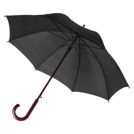 Зонт-трость Unit Standard, полуавтомат с деревянной ручкой, цвет купола чёрный