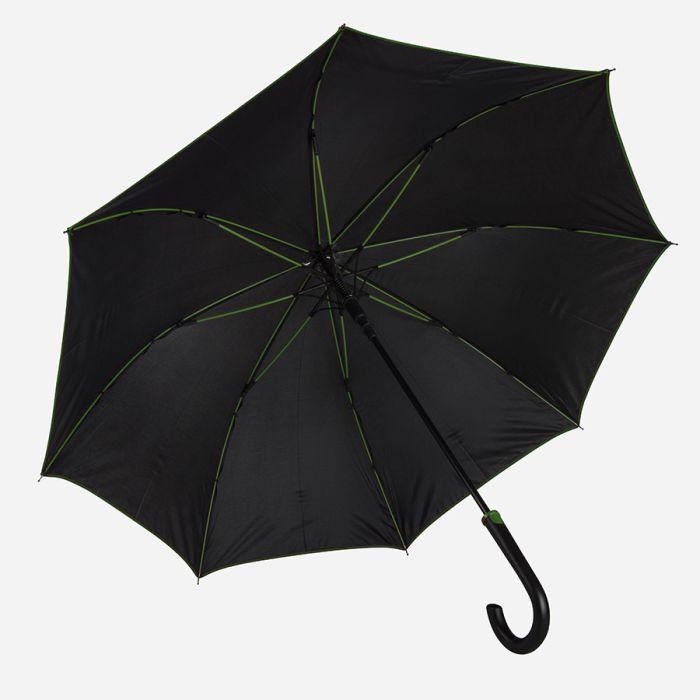 """Зонт-трость """"Back to black"""", полуавтомат, цвет чёрный с зелёным"""