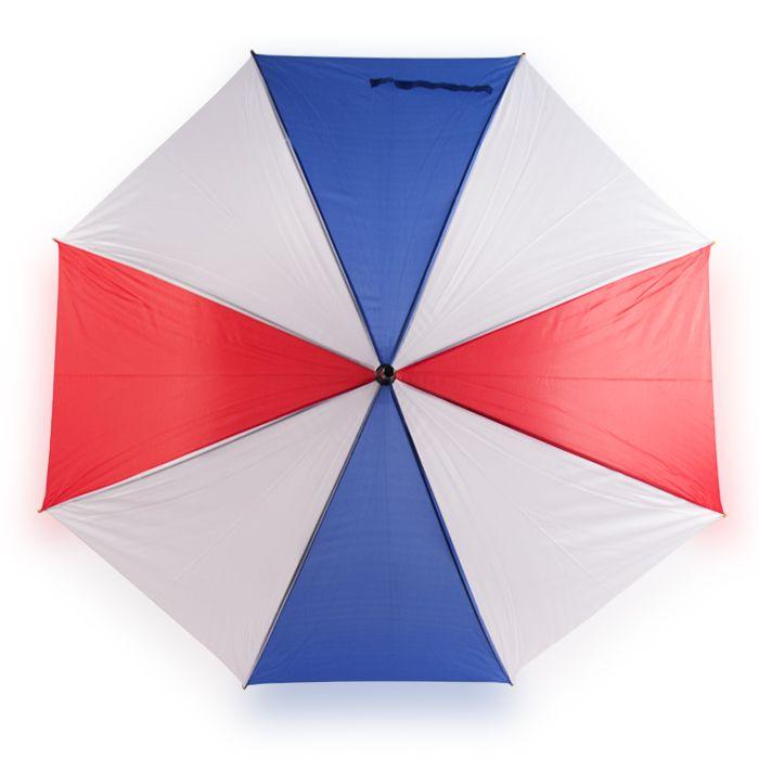 """Зонт-трость полуавтомат """"Триколор"""" с деревянной изогнутой ручкой, цвет купола красный/белый/синий"""