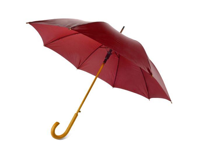 """Зонт-трость """"Радуга"""" полуавтомат с деревянной ручкой, бордовый"""