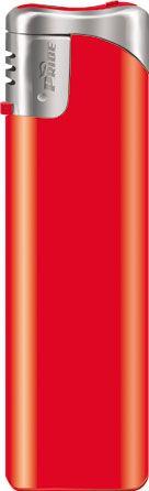 Пьезозажигалка многоразовая серия Color/Chrome Cap Е-101, красная
