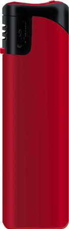 Пьезозажигалка многоразовая серия Matt Color/Black Cap Е-101, красная