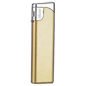 Зажигалка пьезо ISKRA, корпус золотистый, кнопка серебристая