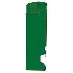 Зажигалка пьезо ISKRA с открывалкой, зелёная