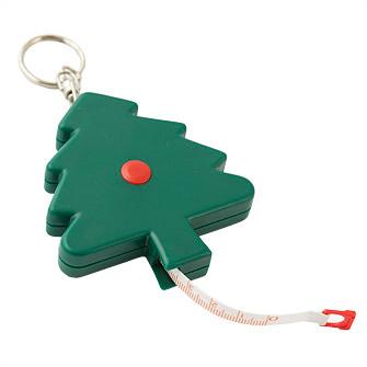 """Брелок-рулетка """"Елочка"""" 1,5 м, с кольцом, цвет зеленый с красным"""