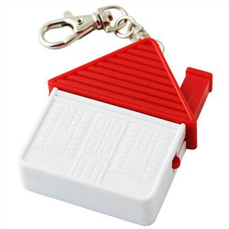 """Брелок-отвертка """"Домик"""" с набором из 4-х сменных насадок, с карабином, красный с белым"""