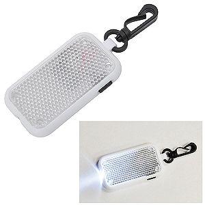 Брелок-светоотражатель на карабине с фонариком, белый