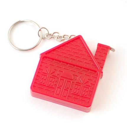 Брелок пластиковый с рулеткой 1м в форме домика, красный