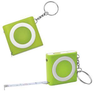 Брелок-рулетка (1м) с фонариком, зеленая