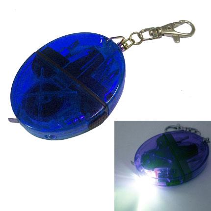 Брелок-рулетка-отвёртка-фонарик с набором из 4 вставок-бит, цвет синий