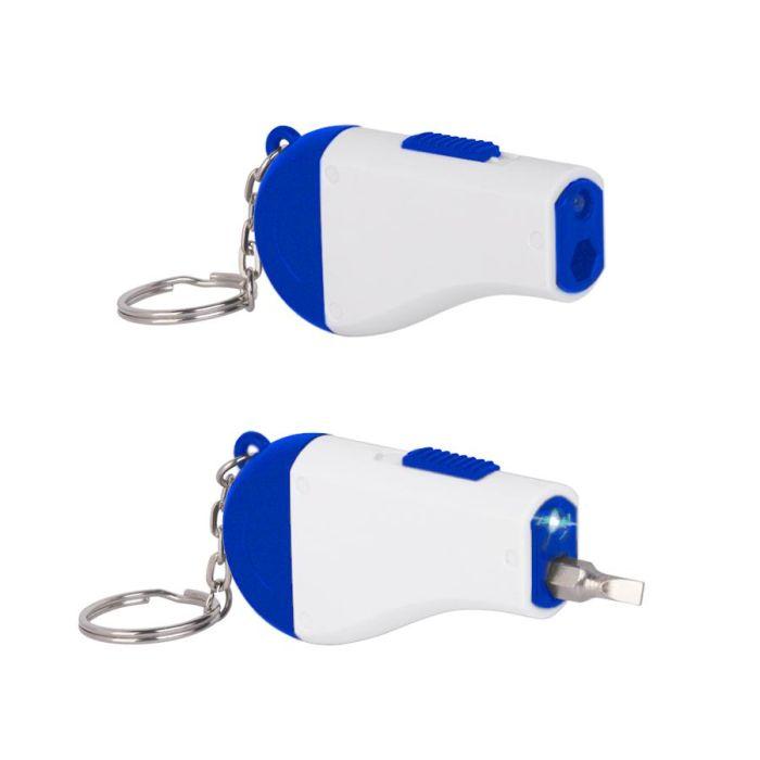 Брелок-мультиинструмент, цвет синий с белым