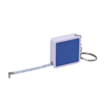 """Брелок-рулетка """"Hit"""", длина 1 м, корпус белый, цвет боковых вставок синий"""