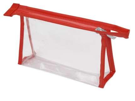 Прозрачная пластиковая косметичка Lucy, цвет красный