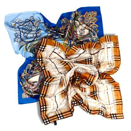 Платок 90x90, атлас (100% шелк), в подарочной упаковке, рисунок в ассортименте