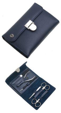 Маникюрный набор GD, 6 предметов, в кожаном тёмно-синем футляре