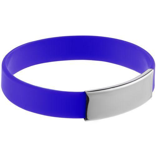 Силиконовый браслет Brisky с металлической шильдой, синий
