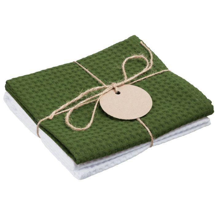 Набор кухонных полотенец Good Wipe, цвет белый с зелёным