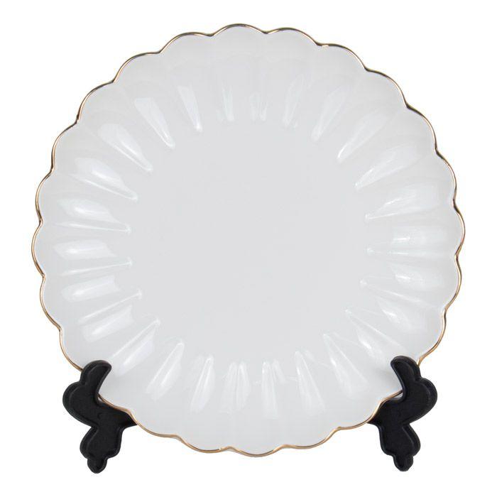 Тарелка для 3D сублимации фарфоровая, волнистая, 19 см, белая с золотым краем