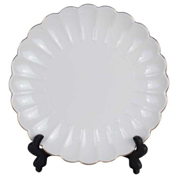Тарелка для 3D сублимации фарфоровая, волнистая, 21 см, белая с золотым краем