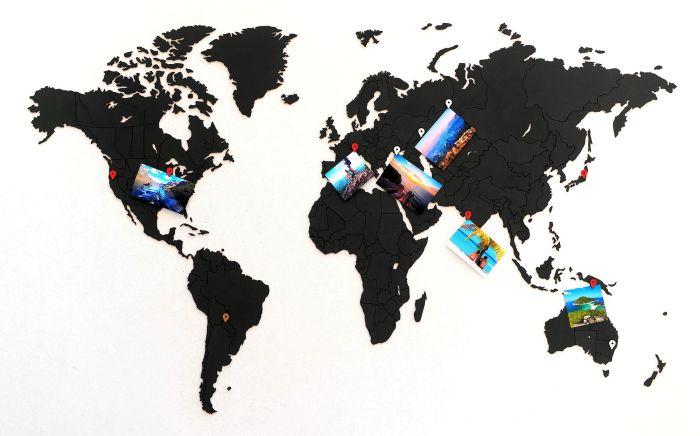 Деревянная карта мира World Map True Puzzle Small, чёрная