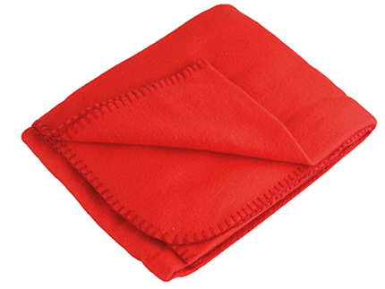 Плед флисовый в рюкзаке, 129х100 см, красный