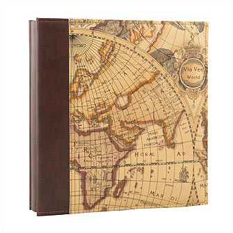 """Фотоальбом """"Via Vee World"""" из коричневого кожзаменителя в подарочной упаковке"""