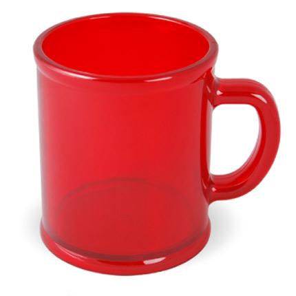Кружка пластмассовая Lekker, цвет прозрачный красный