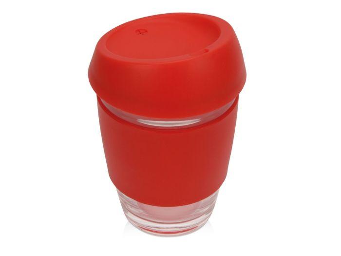 Стеклянный стакан Monday с силиконовой крышкой и манжетой, 350 мл, красный